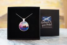 Scottish Neckscape Jewellery / My collection of paintings made into Scottish jewellery pendants