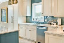 White kitchen, turquoise accents