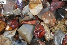 Polished Stones thru MCA / The beautiful raw material that pendants made from minerals come from. It is amazing the gorgeous beauty in the raw mineral before being cut and polished into a pendant.