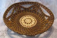 Pine Needle Baskets / Original, hand crafted pine needle basket art