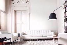 White interior rooms and furniture