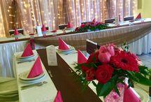 Pink-barna esküvői dekoráció