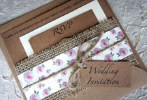 Wedding Stationery - Penonia Collection / Our handmade rustic country style Penonia collection is printed on extra smooth card backed with beautiful texture kraft card and decorated with excellent quality pearls, hessian, ribbon and oasis mossing jute twine tie string. www.serendipityweddingdesign.co.uk