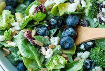 Blueberry brocolli spinach salad