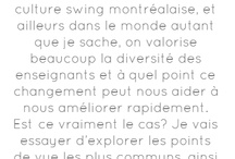 Swing Danse Montréal : Blogs