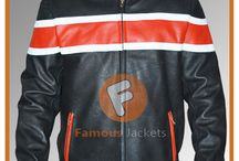 Black Orange Biker Leather Jacket