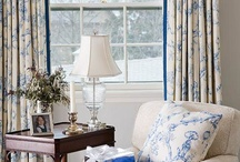 colors: blue & white sitting room