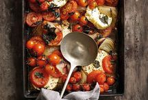 Roasted tomatoes and feta