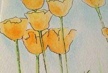 painting - flowers, leaves