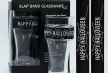 "Halloween Party Glassware And Gifts / Fun Halloween glassware and gifts.  Tag your beverage with your favorite Halloween interchangeable slap band glass ""charm""."