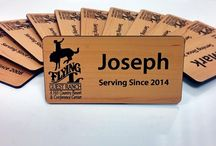 Wood Grain Name Badges / Custom wood grain name tags.  Fully printed or engraved name badges for the everyday worker.