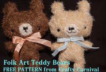 "Teddy Bear Patterns / Free & Retail Patterns Teddy Bears.  Bear supplies under ""Doll Supplies"" Board. I love making teddy bears - in all shapes, sizes & mediums."