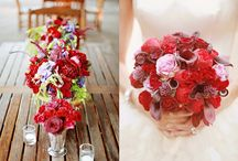 Winter Red Table Venue dressing  / We love the ice of Winter weddings but bring a little warmth in by adding a dash of red to your tables and venue