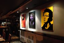 """Vinyl art work / This is a """"Rock N Roll """" theme I  designed  and installed for a friends restaurant .  Vinyl, on oil, on MDF"""