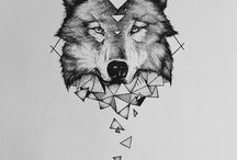 wolf tattoo geometric
