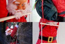 Christmas Outdoor Decoration Santa Claus Ladder Hang Waterproof Xmas Gift Garden