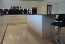 Second Nature Remo Alabaster / Handle less Lacquered Gloss door with Cosmic Polished Granite. Bosch appliances
