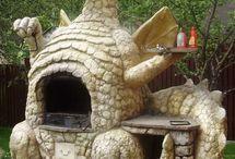 barbeque- oven- vuurplaats/korf - buiten keuken