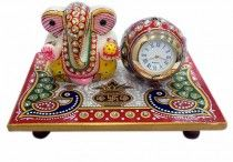 Marble Handicrafts / Modak Marble Ganesha with Clock on Chowki