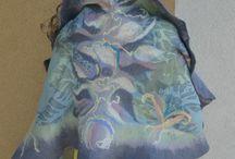 Nuno felted scarfs - felted scarves - felting / My hobby - Handmade felted silk scarfs and hats.
