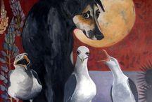 my artwork / Mari Juuti (b.1981), finnish artist who paint symbolic colour full dog art.