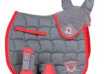 Red riding set / Red ear bonnet, saddle blanket, and show-jumping boots