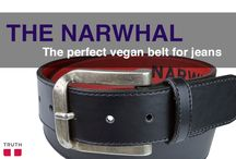 The Narwhal Vegan Belt / Your jeans will love this basic black belt! The Narwhal is high quality, featuring a unique buckle from Spain. The top and bottom layers are made with polyurethane and the middle is filled with recycled car tires. This belt is named after Narwhal whales because they are one of many species of animals that will be affected by greedy oil drilling in ocean waters. That is just not cool! Healthy oceans are. $72.00