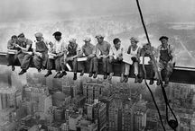black & white images of workers