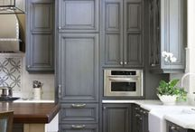 Grey-Stained Kitchen Cabinets