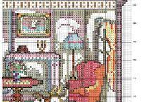 casa de muñecas punto cruz