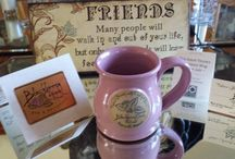 """""""Mug Shots"""" / Pictures taken by our guests and submitted highlighting their favorite Blackberry Creek Retreat Mug. Our mugs are hand thrown for us and Made in the USA by Deneen Pottery.   Thank you for submitting these."""