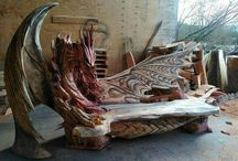 Wood Carved Benches