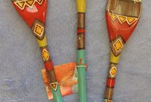 Art Spoons / Fully functional hand painted wood spoons. These spoons are safe for food and dishwasher.