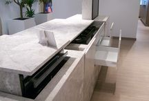 The kitchen unit composed of lightweight marble