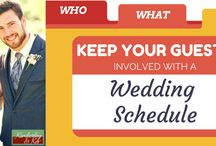 Who, What, Where: Keep Your Guests Involved with a Wedding Schedule / To keep your guests at the wedding until the end, you need to entertain them, but you also need to let them know what is going on. http://www.kimberleyandkev.com/keep-guests-involved-wedding-schedule/
