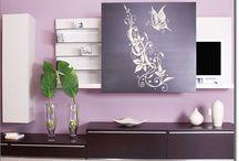 Möbelaufkleber Ornamente / Verschnörkelte Ornamente mit Blumen und Blättern als Möbeltattoo