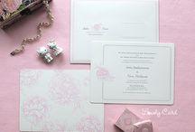 Indra & Novie / Custom Wedding Card with Peony Handdrawing Design