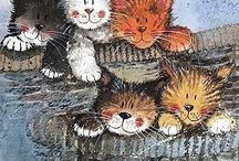 Cat art / Disegni e dipinti di gatti  Cat paintings and drawings