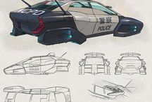 Futuristic Illustrations_ref / Digital, rough sketches and concept ideas for cyborgs, vehicles etc.