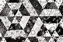 černobílé  deky dečky ... / šití patchworku