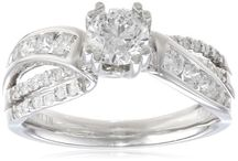 14k White Gold Round Center Diamond By-Pass Engagement Ring (H-I Color, I1-I2 Clarity)