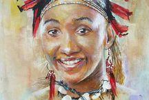 South African Art / zulu venda swazi xhosa himba sotho pedi amabantwane bushman ndebele masaai samburu african culture by artist Phillip Steyn