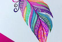 Drawings w/ gel pens