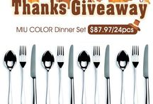 """MIU COLOR Spoons Giveaway / 【#Giveaway】Time to thanks """"giving""""!  Your fancy dinner set (Value $87.97) is on the way!  Just enter to like, comment or share this wonderful news with friends, to win the prize!  Good luck and have fun!"""