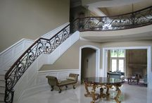 Interior Railings / All surfaces are then sanded smooth by hand and machine. To assure great finish, the galvanized pieces are then powder coated or painted using a paint made specifically for galvanized metals.