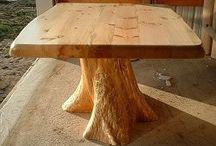 Mesa de tronco de árbol