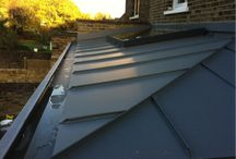 zinc panel roof with skylight detail