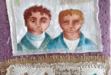 Fiber art / broderie sur tissus recyclés. Armelle Guissani