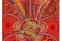 Australian Aboriginal Art / fish aboriginal art pointillism dots