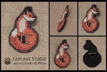 Cross stitched animal jewelry